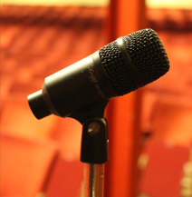 empty theatre, microphone, get out,