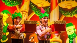 Cromer Pier Christmas show elves handing out presents