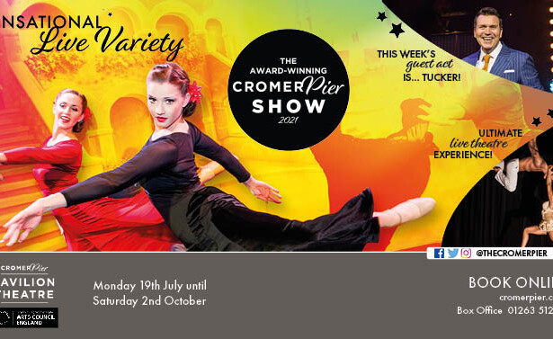 Cromer Pier Show 2021 girls dancing, Tucker comedian and Duo Fusion Aerial act