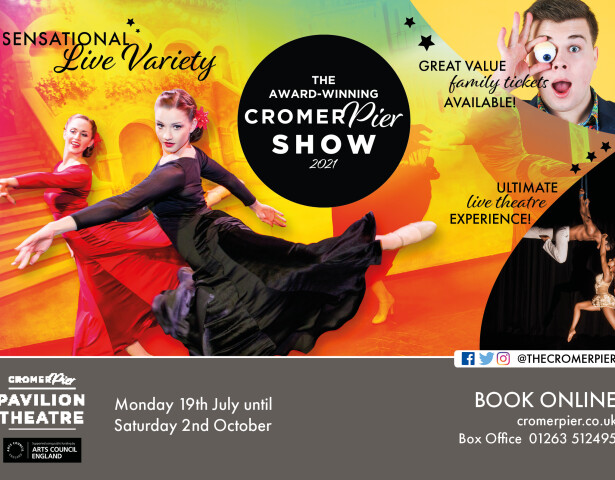 The 2021 Cromer pier show freedom day relaunch, dancers, aerial act, comedian, sensational live variety show