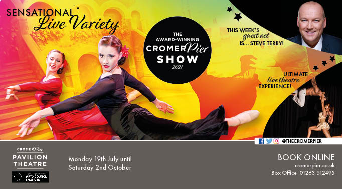 Cromer Pier Show 2021 dancers, comedian Steve Terry and Duo Fusion Aerial circus performers
